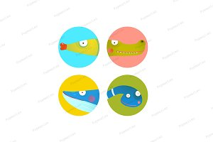 Cartoon Animals Icons Collection