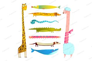 Cartoon Baby Animals Set
