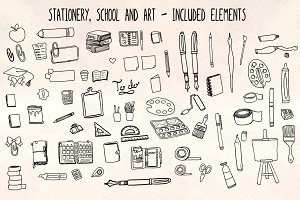 60+ Stationery, School + Art Vectors