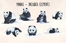7 Hand Painted Panda Graphics