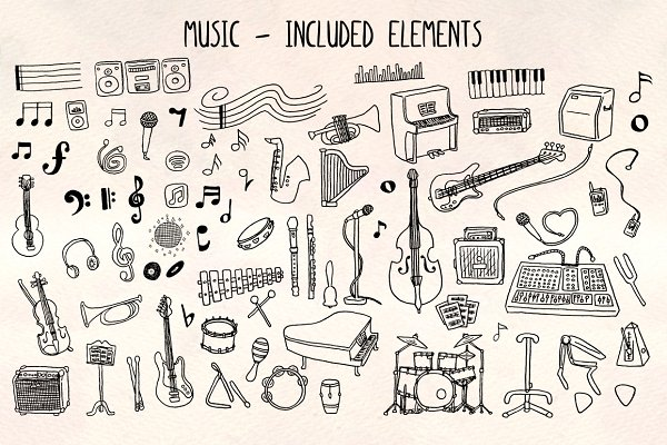 70+ Musical Vector Graphics Kit