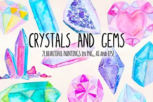 21 Crystal Gems Watercolor Vectors