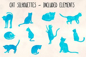 11 Blue Cat Silhouette Graphics