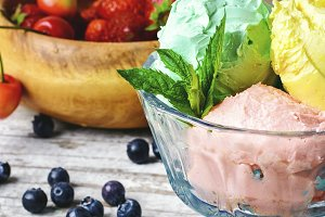 Bowl with fruit ice cream