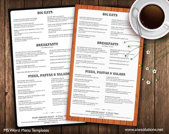 Restaurant menu brochure templates on creative market for Resturant menu templates