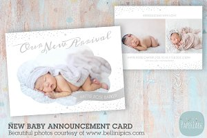 AN003 Newborn Baby Card Announcement