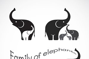 Vector image of family elephants