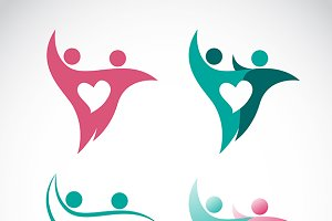 Vector image of people and heart