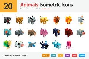 20 Animals Isometric Icons