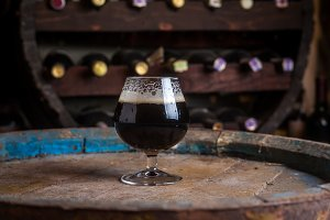 Aged stout in cellar