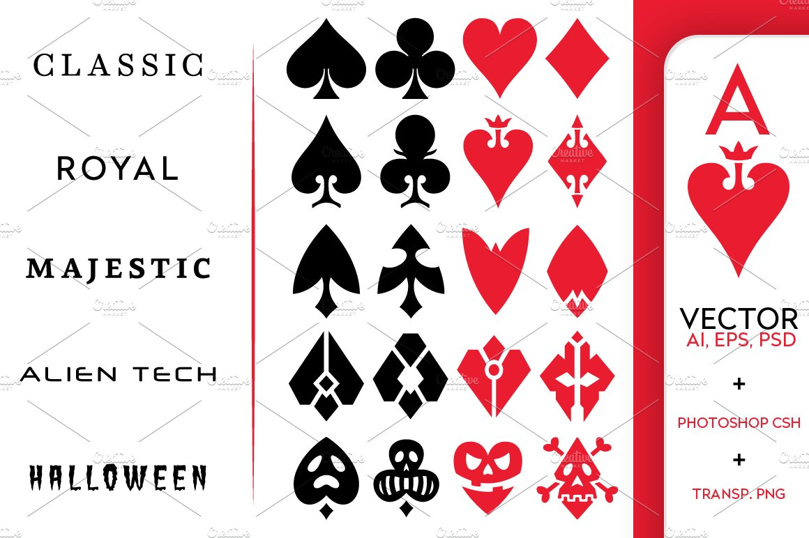 Playing card vector symbols illustrations creative market biocorpaavc