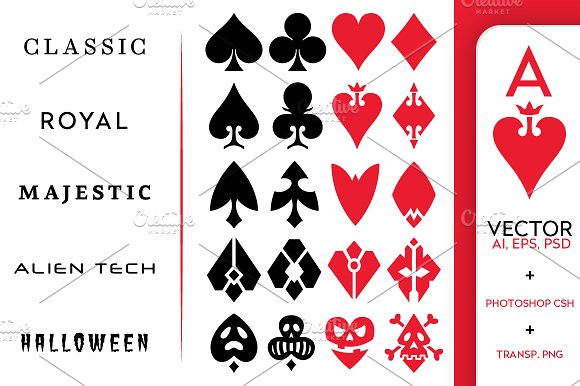 Playing Card Vector Symbols Illustrations Creative Market