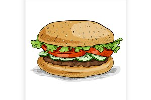 Burger, color picture sticker