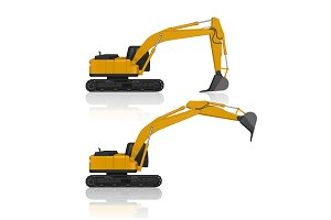 Backhoes ,vector illustration