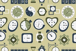 Clocks icons pattern