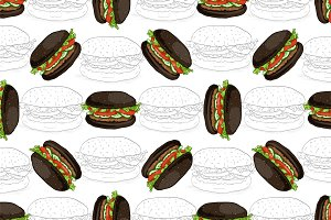 pattern burger scetch and color