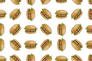 seamless pattern color burger