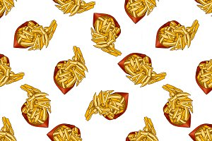 seamless pattern color french fries
