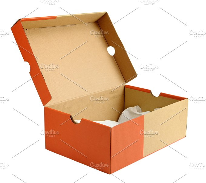 Open empty shoe cardboard box abstract photos creative - Boite a chaussure decoree ...