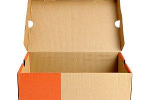 Open empty shoe cardboard box