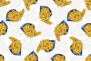 pattern french fries scetch in color