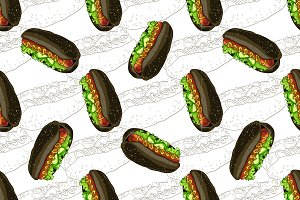 pattern hot dog scetch and color