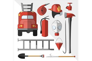 Set icons of firefighting equipment