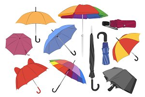 Colorful umbrellas set