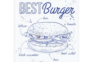 burger recipe on a notebook page