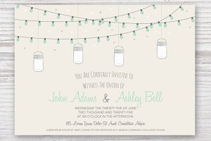 Wedding Invitation Card with Jars