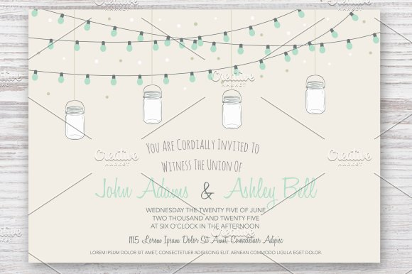 Wedding Invitation Card With Jars Card Templates Creative Market - Birthday invitation cards tumblr