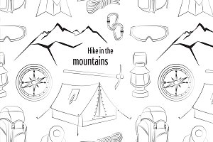 Hike in the mountains pattern