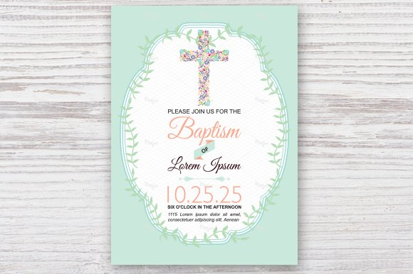 Baptism invitation card illustrations creative market stopboris