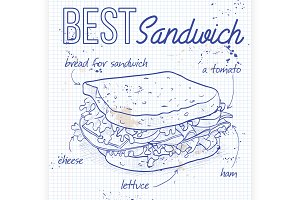 Sandwich recipe on a notebook page