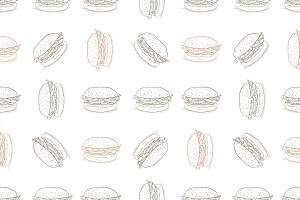 seamless pattern burger scetch