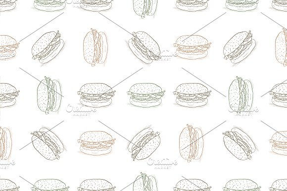 seamless pattern burger scetch