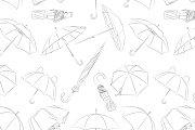 Hand drawn umbrellas pattern