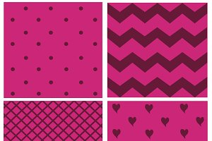 pattern with hearts and dots pink