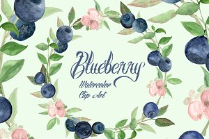 Watercolor Blueberries Clip Art