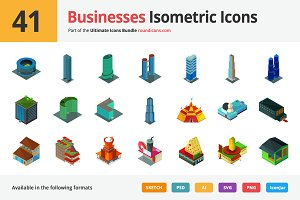 41 Businesses Isometric Icons