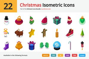 22 Christmas Isometric Icons