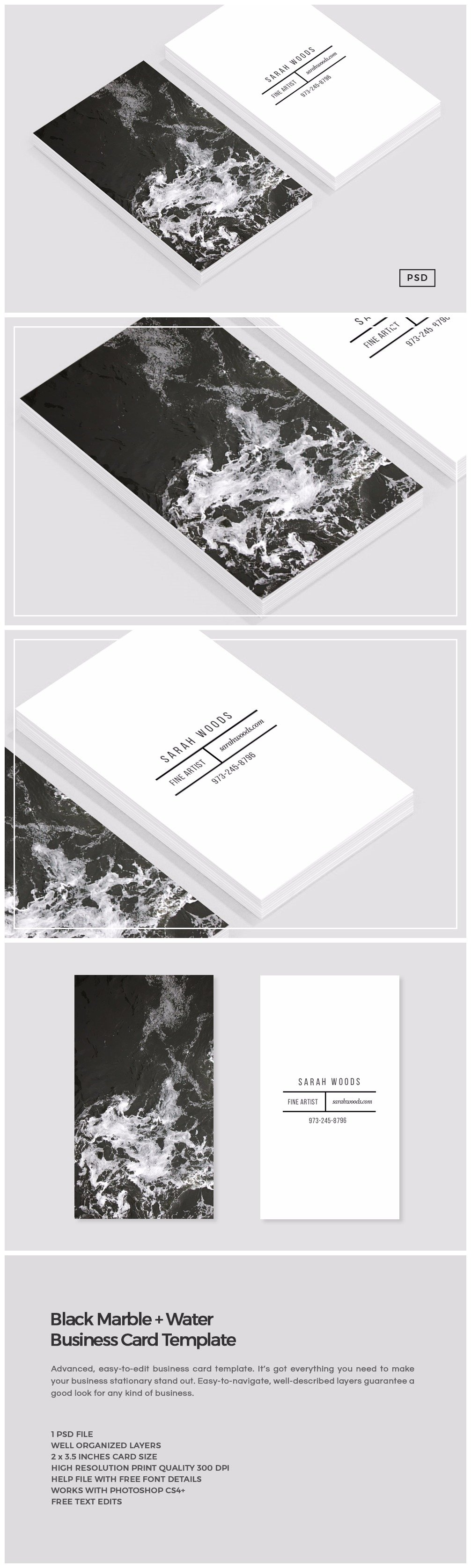 Black marble business card template business card templates black marble business card template business card templates creative market reheart Gallery