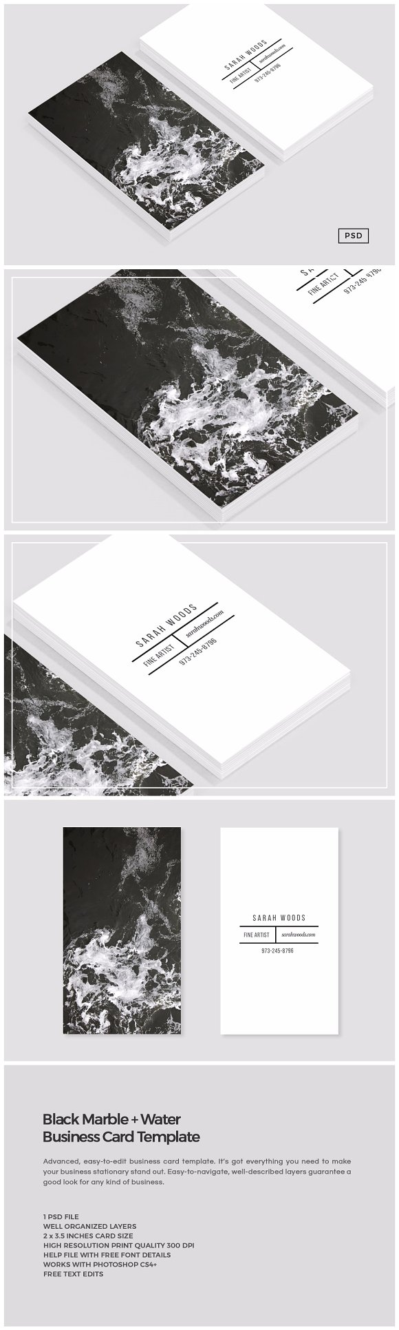 Black Marble Business Card Template ~ Business Card Templates ...