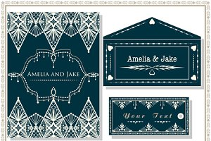 Vector wedding invitation cards set