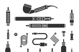 Vaping vector icons
