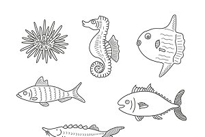Doodle outline fishes