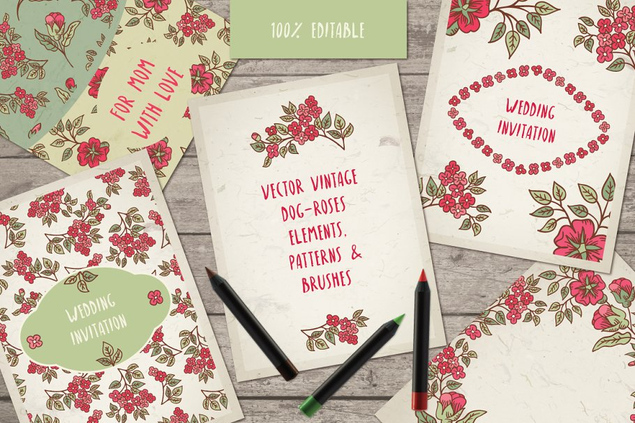 Vintage Dog-Rose vector pack in Patterns - product preview 8