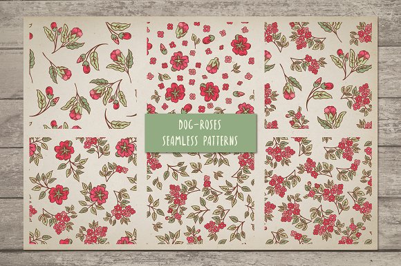 Vintage Dog-Rose vector pack in Patterns - product preview 2