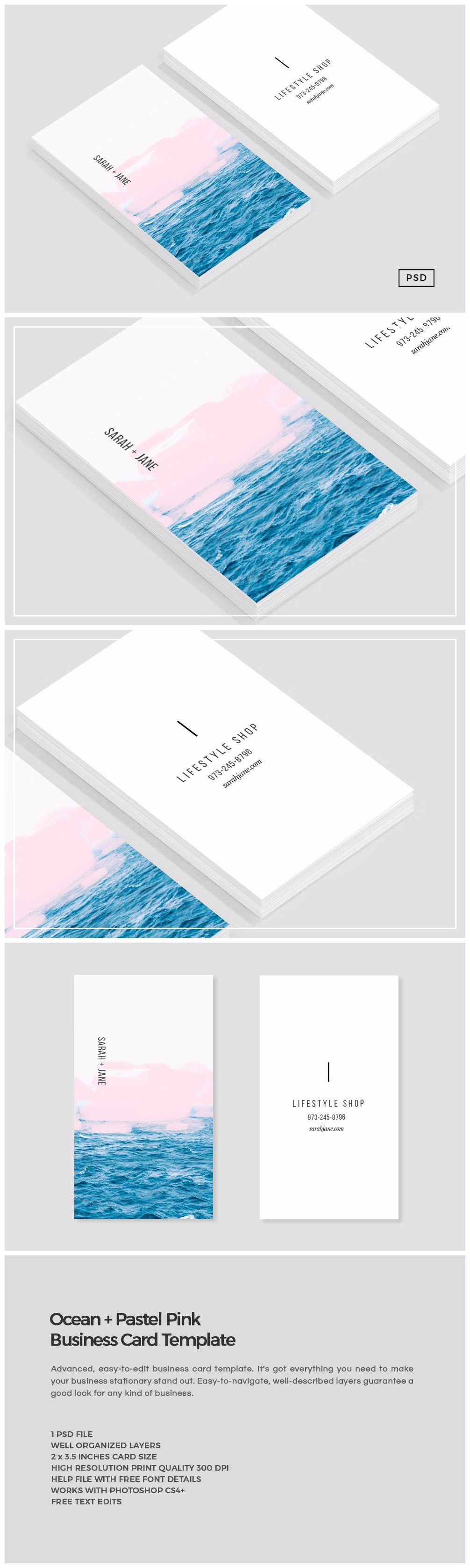 Ocean pink business card template business card templates ocean pink business card template business card templates creative market reheart Gallery