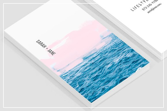 Ocean pink business card template business card templates ocean pink business card template business card templates creative market accmission Image collections